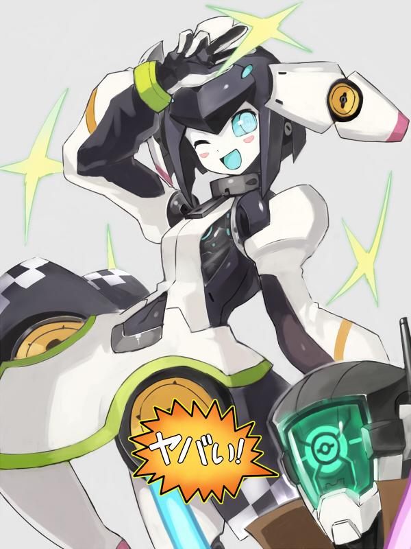 character_request dia_(world_flipper) dress edobox grey_background headgear robot simple_background white_sleeves world_flipper