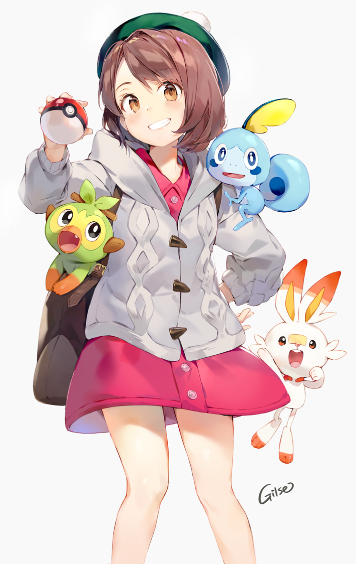 1girl artist_name bag bangs bare_legs blush bob_cut brown_bag brown_eyes brown_hair buttons cardigan clenched_teeth collared_dress commentary_request dot_nose dress eyebrows_visible_through_hair eyelashes feet_out_of_frame gen_8_pokemon gilse green_headwear grey_cardigan grookey hand_on_hip happy hat head_tilt holding holding_poke_ball jumping legs_apart long_sleeves looking_at_viewer pink_dress poke_ball poke_ball_(generic) pokemon pokemon_(creature) pokemon_(game) pokemon_in_bag pokemon_on_shoulder pokemon_swsh pom_pom_(clothes) scorbunny shiny shiny_hair short_dress short_hair shoulder_bag simple_background smile sobble solo standing straight_hair tam_o'_shanter teeth white_background yuuri_(pokemon)