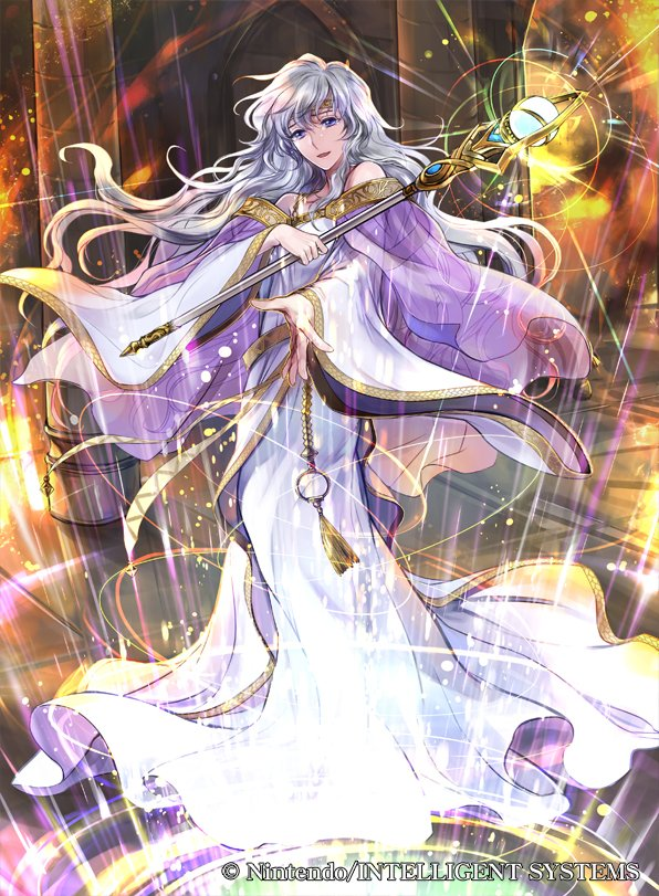 1girl circlet company_name copyright_name deirdre_(fire_emblem) dress fire_emblem fire_emblem:_genealogy_of_the_holy_war fire_emblem_cipher holding holding_staff long_hair long_sleeves official_art purple_hair solo staff violet_eyes wada_sachiko wide_sleeves