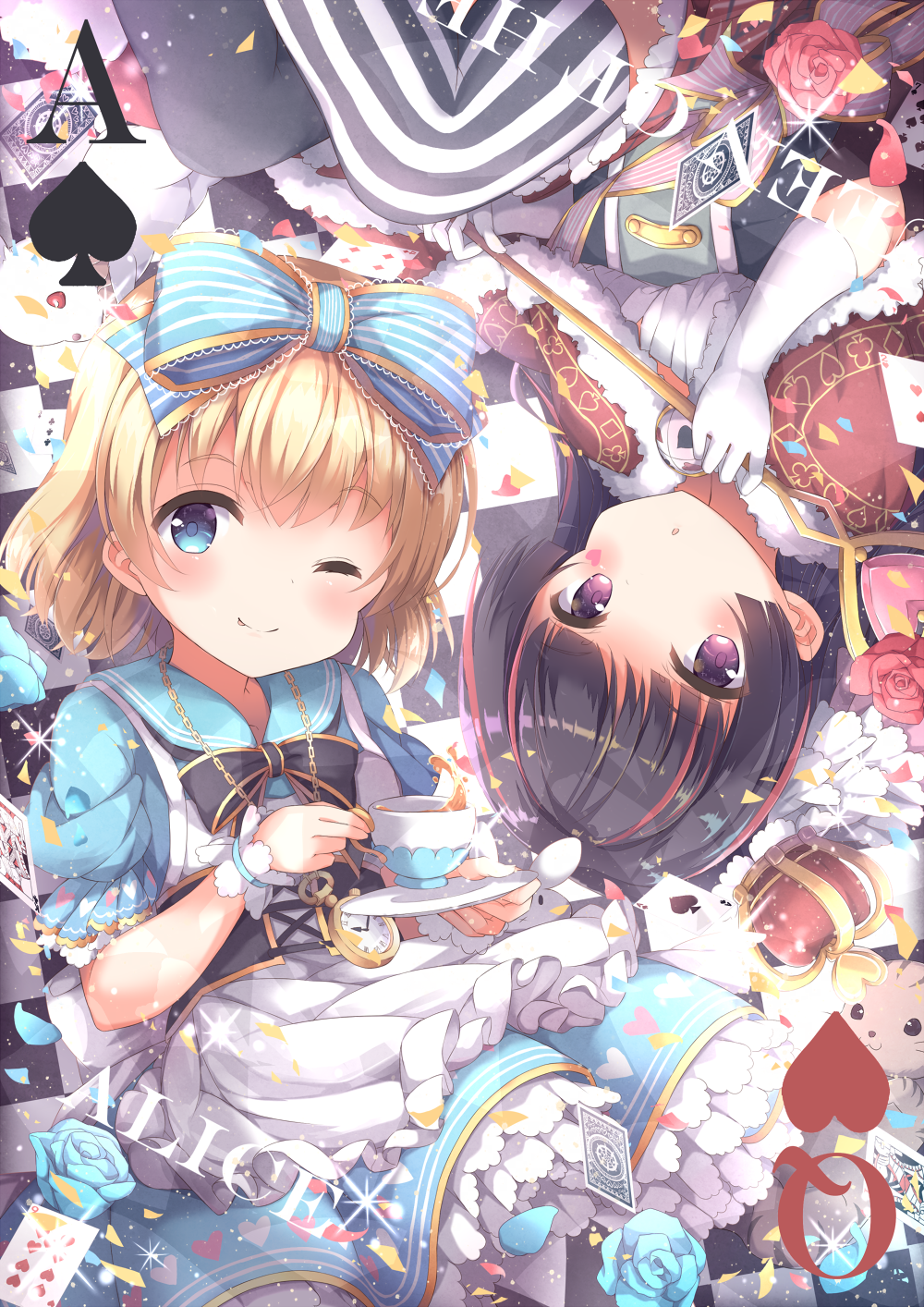2girls :o ;) alice_(wonderland) alice_in_wonderland apron bangs black_hair black_legwear black_neckwear blonde_hair blue_bow blue_dress blue_eyes blue_flower blue_rose bow bowtie capelet card card_(medium) cat commentary_request corset crown crown_removed cup dress elbow_gloves facial_mark flower frilled_apron frills fur-trimmed_capelet fur_trim gloves hair_bow heart highres holding_scepter looking_at_viewer mismatched_legwear multicolored_hair multiple_girls niwasane_(saneatsu03) one_eye_closed petals pink_flower pink_ribbon pink_rose playing_card pocket_watch queen_of_hearts rabbit red_capelet redhead ribbon rose sailor_dress scepter short_hair short_sleeves smile sparkle streaked_hair striped striped_bow striped_legwear striped_ribbon tea teacup thigh-highs vertical-striped_legwear vertical_stripes violet_eyes watch white_apron white_gloves wrist_cuffs