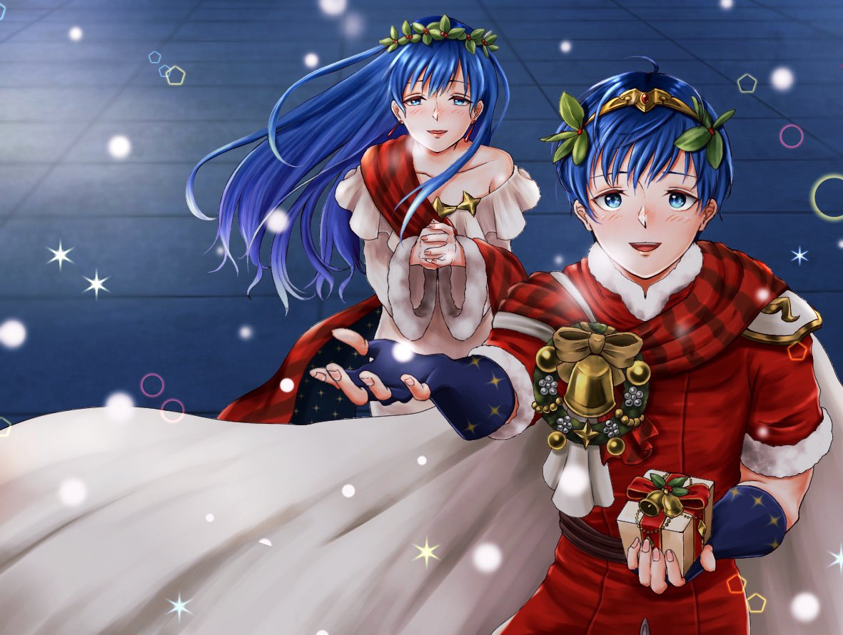 1boy 1girl aplche blue_eyes blue_hair box brother_and_sister cape christmas elice_(fire_emblem) fingerless_gloves fire_emblem fire_emblem:_monshou_no_nazo fire_emblem:_mystery_of_the_emblem fire_emblem:_shin_ankoku_ryuu_to_hikari_no_tsurugi fire_emblem_11 fire_emblem_3 fire_emblem_heroes fire_emblem_shadow_dragon fur_trim gift gift_box gloves hands_clasped holding holding_gift intelligent_systems long_hair long_sleeves marth_(fire_emblem) nintendo open_mouth own_hands_together short_hair short_sleeves siblings tiara