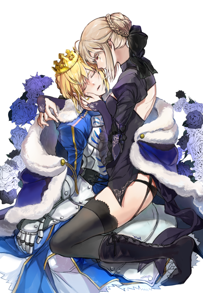 2girls ahoge armor armored_dress artoria_pendragon_(all) back_cutout black_dress black_footwear black_legwear black_panties blonde_hair boots braid closed_eyes crown dress fate/stay_night fate_(series) flower french_braid fur_coat garter_straps gauntlets hand_on_another's_face high_heel_boots high_heels juliet_sleeves long_sleeves looking_at_another mameal369 multiple_girls open_mouth panties puffy_long_sleeves puffy_sleeves saber saber_alter selfcest shrug_(clothing) thigh-highs underwear yellow_eyes yuri