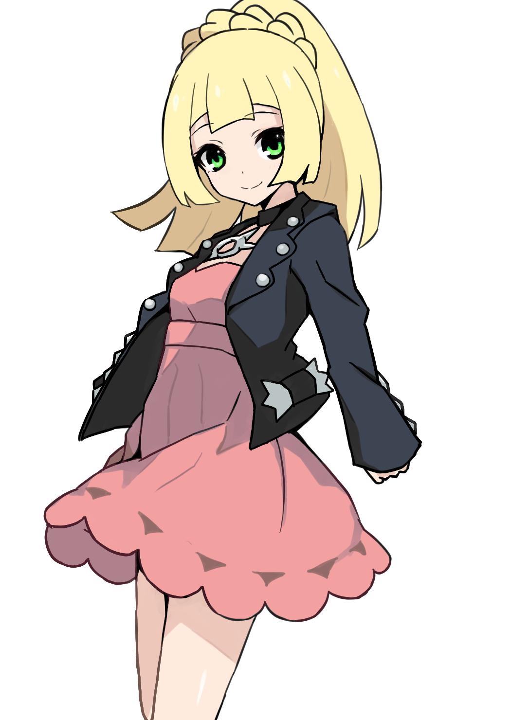 1girl black_jacket blonde_hair closed_mouth cosplay dress green_eyes highres jacket lillie_(pokemon) long_hair long_sleeves mary_(pokemon) mary_(pokemon)_(cosplay) melon_syrup pink_dress pokemon pokemon_(game) pokemon_sm pokemon_swsh ponytail simple_background smile solo white_background