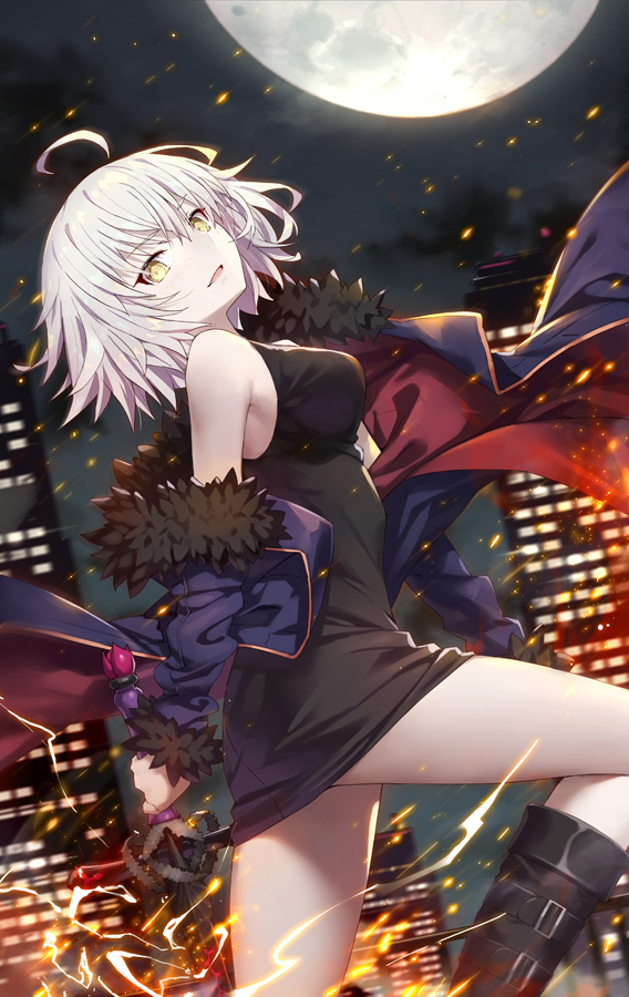 1girl ahoge bangs belt_boots black_dress black_footwear blush boots breasts cityscape dress eyebrows_visible_through_hair fate/grand_order fate_(series) full_moon fur-trimmed_jacket fur_trim gabiran jacket jeanne_d'arc_(alter)_(fate) jeanne_d'arc_(fate)_(all) knee_boots large_breasts looking_at_viewer moon night open_mouth outdoors purple_jacket short_hair silver_hair sleeveless sleeveless_dress smile solo wicked_dragon_witch_ver._shinjuku_1999 wind yellow_eyes