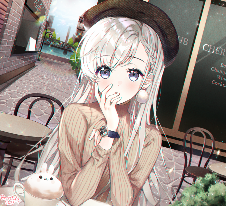 1girl artist_name bangs beige_sweater blue_eyes braid cafe chair chii_(nyaong9) chin_rest coffee commentary_request cup day dutch_angle grey_hair hand_to_own_mouth hisakawa_hayate idolmaster idolmaster_cinderella_girls lamppost latte_art long_sleeves looking_at_viewer mismatched_earrings outdoors pom_pom_earrings pov_across_table ribbed_sweater side_braid sitting solo stone_walkway sweater table teacup watch watch