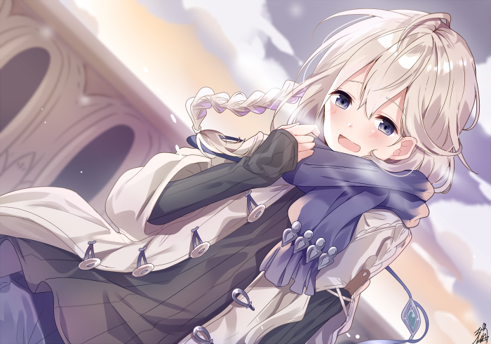 1boy bangs blue_eyes blush braid dutch_angle granblue_fantasy hair_between_eyes long_hair looking_at_viewer male_focus noa_(granblue_fantasy) omuretsu open_mouth pale_skin scarf silver_hair single_braid smile solo sweater