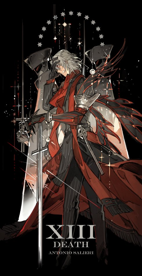 1boy antonio_salieri_(fate/grand_order) armor ascot black_background black_gloves black_jacket black_pants character_name clenched_teeth death_(tarot_card) fate/grand_order fate_(series) formal gauntlets gloves half_updo hand_on_own_forehead hand_on_own_head jacket long_sleeves looking_to_the_side male_focus pants parted_lips pauldrons red_eyes red_scarf roman_numerals scarf short_hair sidelocks silver_hair simple_background solo standing star starshadowmagician stick striped striped_jacket striped_pants suit sword tarot teeth weapon