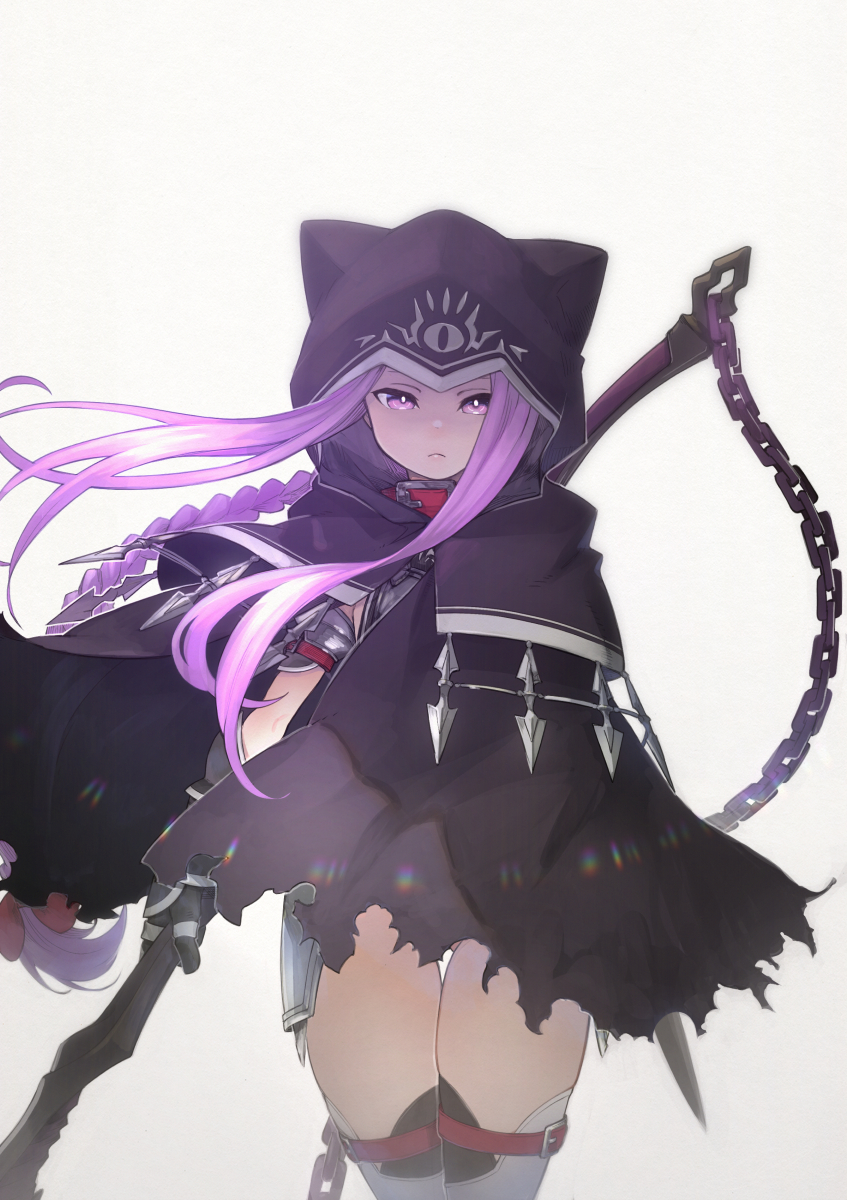 1girl animal_ears animal_hood ass_visible_through_thighs black_cloak black_gloves braid chain cloak closed_mouth commentary_request fake_animal_ears fate/grand_order fate_(series) floating_hair gloves grey_background highres holding holding_weapon hood hood_up hooded_cloak long_hair looking_at_viewer medusa_(lancer)_(fate) purple_hair rider sidelocks simple_background solo thigh-highs thigh_gap torn_cloak torn_clothes very_long_hair violet_eyes weapon white_legwear yunar