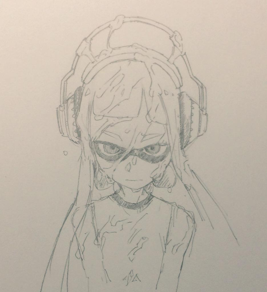 1girl closed_mouth commentary_request domino_mask inkling kotoyama long_hair looking_at_viewer mask monochrome simple_background sketch solo splatoon_(series) tentacle_hair