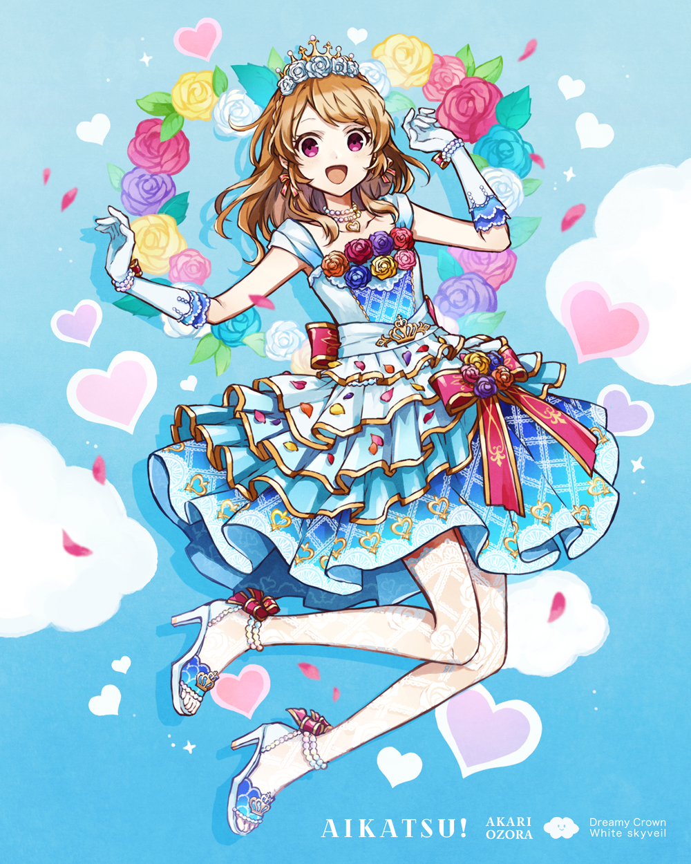 1girl :d aikatsu! aikatsu!_(series) blue_background blue_dress blue_flower blue_rose bow bow_earrings braid brown_hair brown_rose buzz character_name collarbone commentary_request copyright_name dress elbow_gloves floral_background flower full_body gloves hair_flower hair_ornament heart high_heels highres layered_dress long_hair oozora_akari open_mouth petals pink_flower pink_rose pleated_skirt purple_flower purple_rose red_bow red_flower red_rose rose see-through shoes skirt sleeveless sleeveless_dress smile solo thigh-highs tiara white_flower white_footwear white_gloves white_legwear white_rose yellow_flower yellow_rose