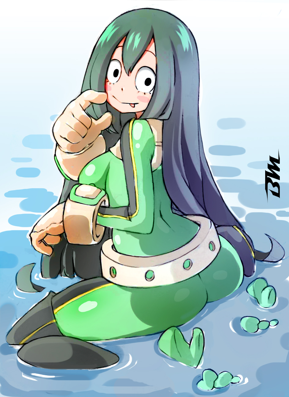 1girl asui_tsuyu bayeuxman black_eyes blush_stickers bodysuit boku_no_hero_academia gloves green_bodysuit green_hair hair_between_eyes highres long_hair looking_at_viewer shiny shiny_clothes shiny_hair smile solo tongue tongue_out very_long_hair water