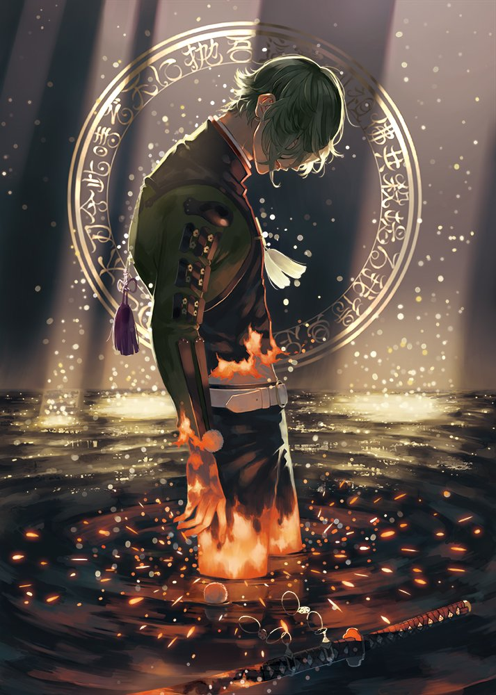 1boy armor belt black_pants burning burning_clothes burning_hand circle closed_mouth covered_eyes cowboy_shot dark face_down from_side green_hair hair_over_eyes japanese_armor katana light_rays long_sleeves male_focus midriff o-ring pants pom_pom_(clothes) profile ripples solo standing sword tassel touken_ranbu uguisumaru user_tufx3333 wading water weapon