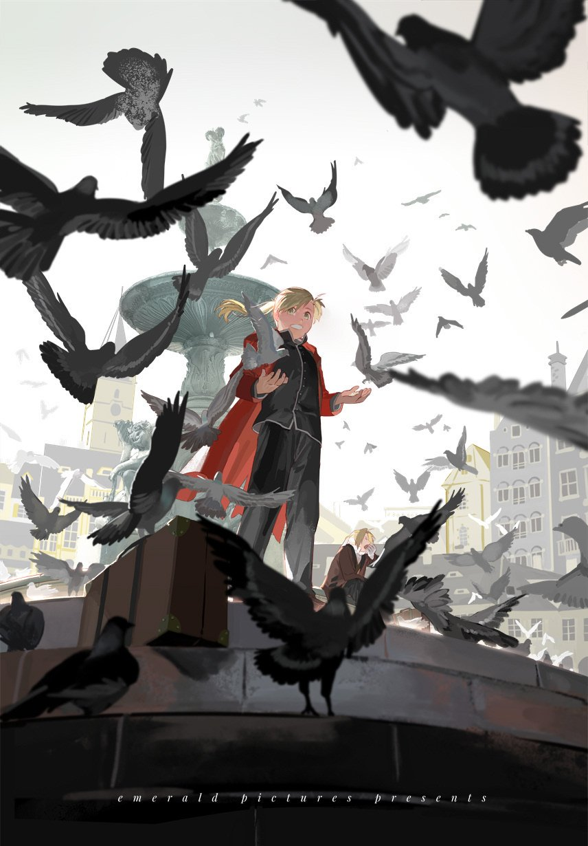 2boys alphonse_elric animal bangs bird black_clothes black_pants blonde_hair cape city closed_eyes coat commentary edward_elric english_text fountain from_below fullmetal_alchemist highres holy_pumpkin long_hair long_sleeves looking_to_the_side male_focus multiple_boys open_mouth pants pigeon red_cape sitting sky smile square standing suitcase teeth white_sky yawning yellow_eyes