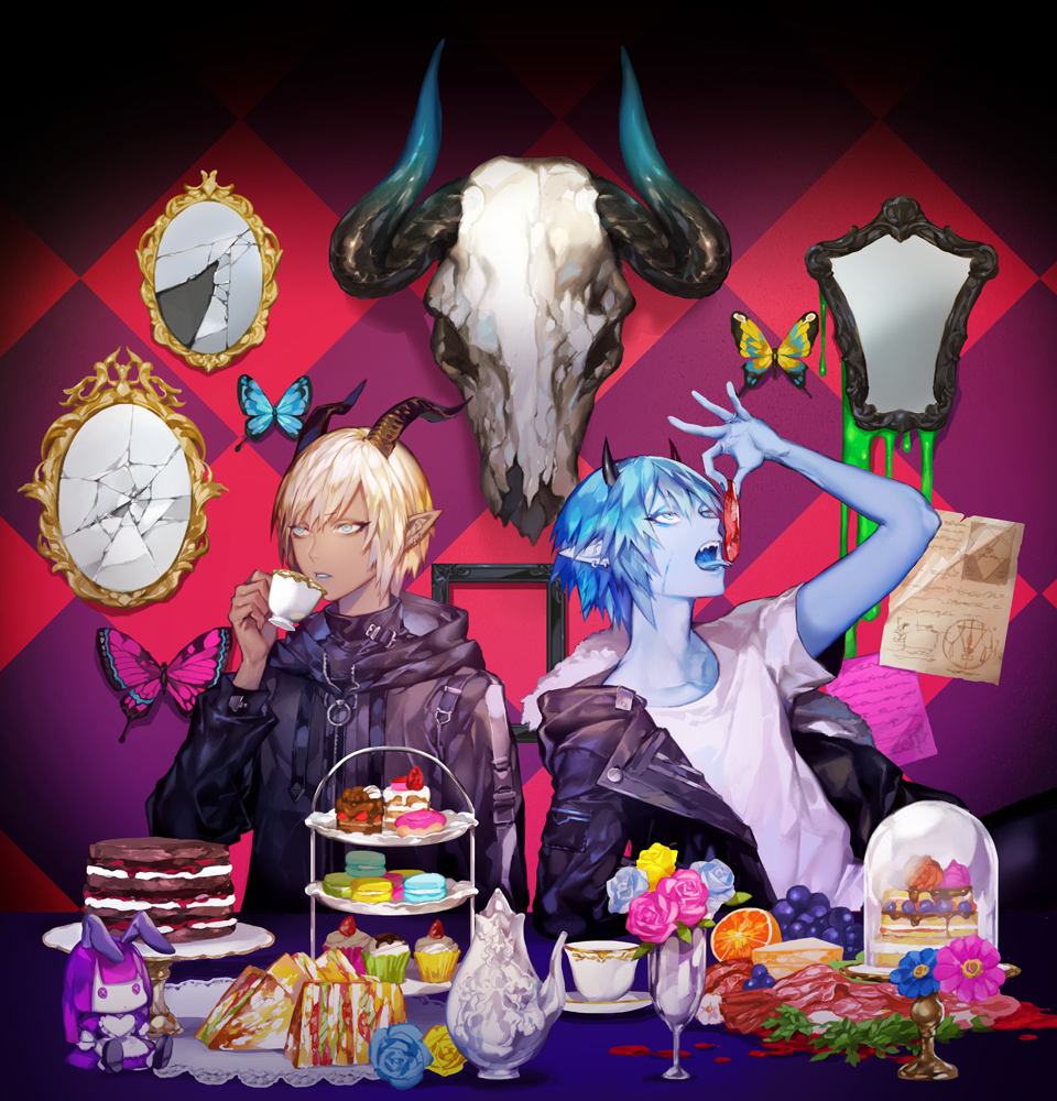 2others androgynous animal_skull bangs black_jacket blue_butterfly blue_eyes blue_flower blue_lips blue_rose blue_skin broken_mirror bug butterfly cake cake_stand checkered checkered_background cup cupcake daisy dark_skin demon_horns doily doll drinking_glass ear_piercing eating eyeliner flower food fruit fur-trimmed_jacket fur_trim grapes hand_up horns insect jacket leather leather_jacket lipstick long_sleeves looking_away macaron makeup meat multiple_others ohayosayonara open_clothes open_jacket open_mouth orange original paper picture_frame piercing pink_butterfly pink_flower pink_rose pointy_ears rose sandwich serving_dome sharp_teeth shirt side-by-side sitting skull t-shirt teacup teapot teeth tiered_tray tongue tongue_out vase white_shirt wine_glass yellow_butterfly yellow_flower yellow_rose