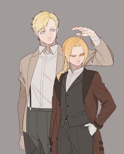 2boys ahoge alphonse_elric bangs black_pants blonde_hair blue_eyes brothers brown_coat closed_mouth coat collar collared_shirt edward_elric fullmetal_alchemist gloves grey_background jacket long_hair long_sleeves looking_at_another looking_to_the_side male_focus multiple_boys p0ckylo pants ponytail shirt siblings simple_background standing upper_body white_gloves white_shirt yellow_eyes