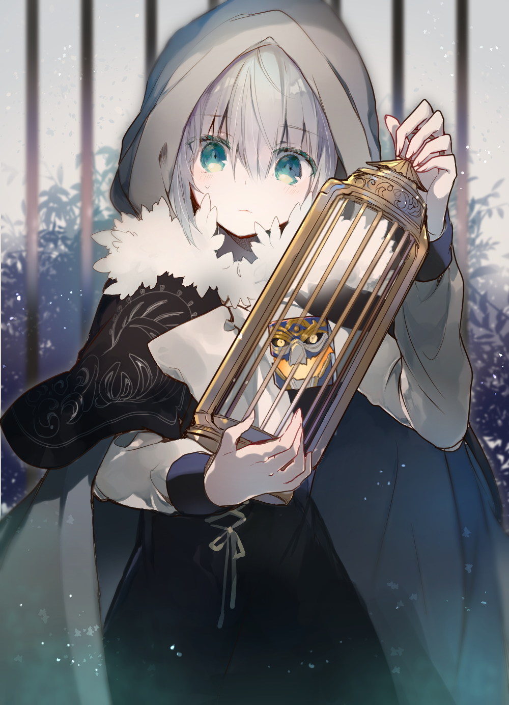1girl add_(lord_el-melloi_ii) bangs blurry blurry_background blush cage cloak closed_mouth cowboy_shot creature cube cyawa dress eyebrows_visible_through_hair fate_(series) frown fur_trim gray_(lord_el-melloi_ii) green_eyes grey_hair hand_up highres holding hood hood_up hooded_cloak long_sleeves looking_at_viewer lord_el-melloi_ii_case_files sweat