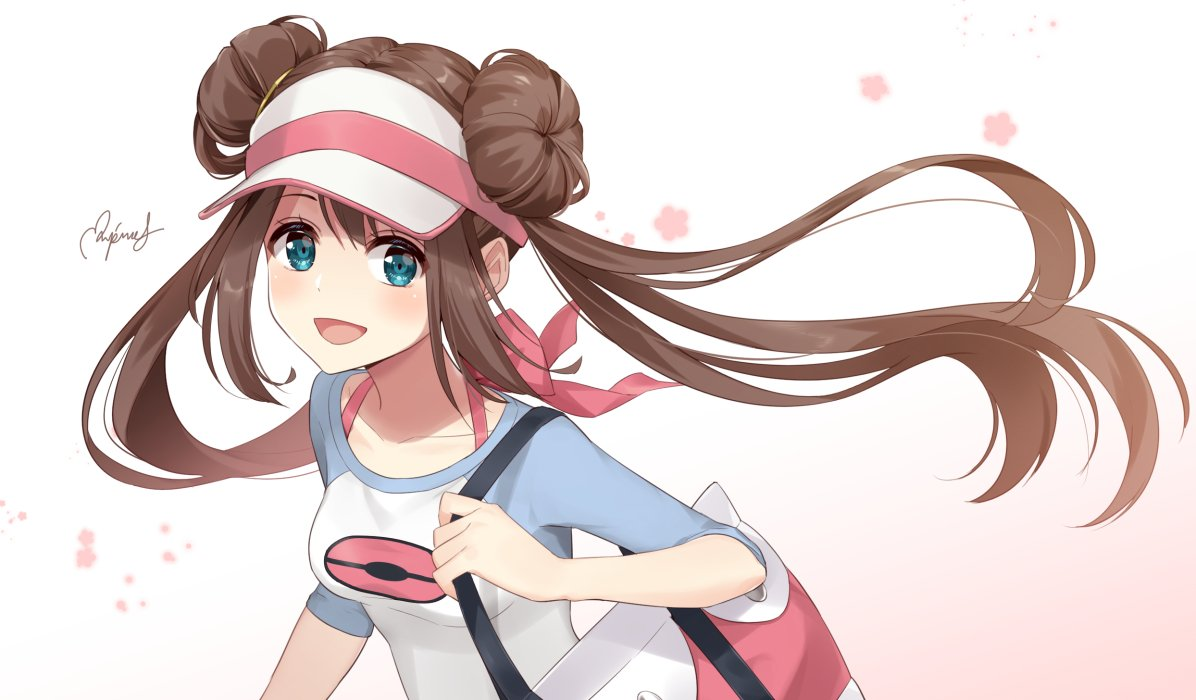 1girl :d bag blue_eyes breasts brown_hair collarbone double_bun flower handbag holding_strap long_hair looking_at_viewer mei_(pokemon) open_mouth pink_flower pokemon pokemon_(game) pokemon_bw2 raglan_sleeves rupinesu sidelocks signature small_breasts smile solo twintails upper_body visor_cap
