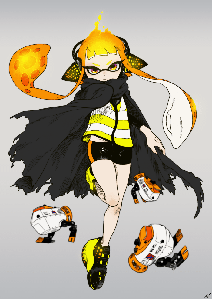 1girl artist_name aura autobomb_(splatoon) bangs black_cape black_shorts blunt_bangs cape closed_mouth dated domino_mask grey_background headgear inkling leg_up light_frown mask orange_eyes orange_hair shoes short_shorts shorts signature simple_background single_vertical_stripe sneakers solo splatoon_(series) splatoon_2 splatoon_2:_octo_expansion squidbeak_splatoon standing standing_on_one_leg tentacles torn_cape torn_clothes vest yellow_footwear yellow_vest yeneny