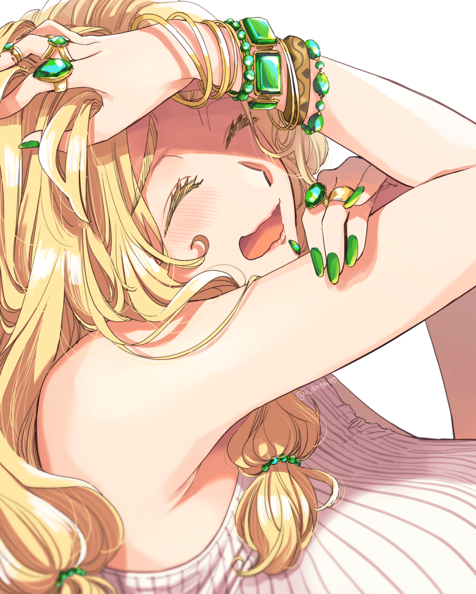1girl armpits bare_shoulders blonde_hair blush bracelet breasts emerald_(gemstone) eyelashes fate/grand_order fate_(series) gem green_eyes green_nails hair_ornament highres jewelry large_breasts long_hair nail_polish quetzalcoatl_(fate/grand_order) ring simple_background sleeveless_sweater smile solo sweat yukataro