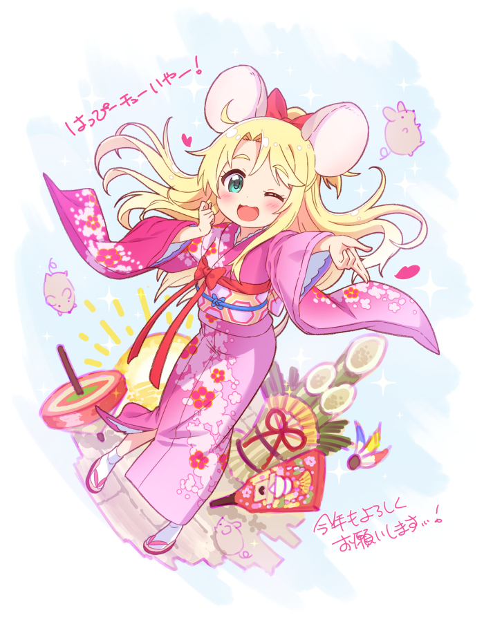 1girl :3 :d animal_ears bamboo bangs blonde_hair blush bow eyebrows_visible_through_hair floral_print full_body green_eyes hair_bow hair_ornament hand_up heart himesaka_noa japanese_clothes jigatei_(omijin) kimono long_hair looking_at_viewer mouse mouse_ears obi one_eye_closed open_mouth outstretched_arm paddle pink_kimono red_bow sandals sash smile socks solo spinning_top standing sun translation_request watashi_ni_tenshi_ga_maiorita! yukata