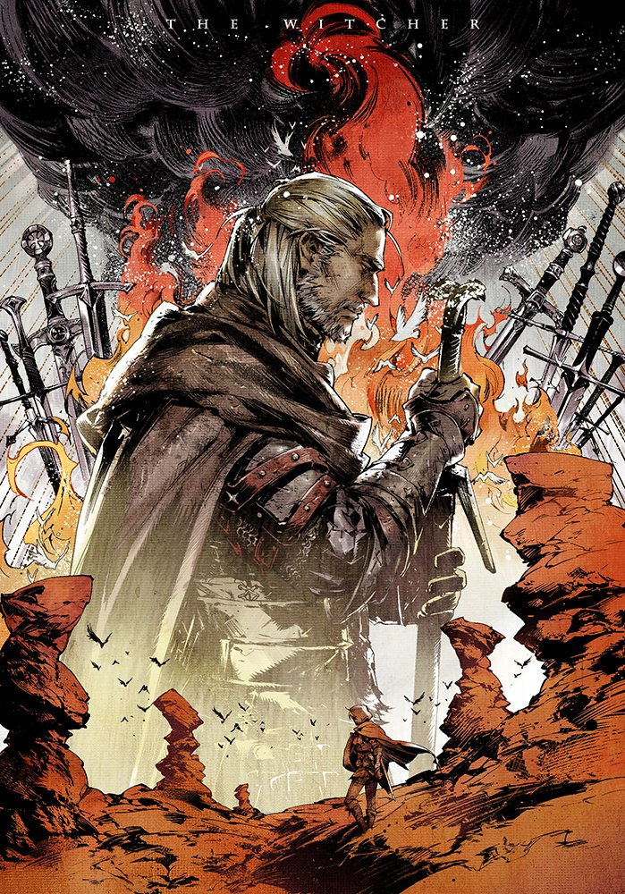 1boy 1girl armor ciri field_of_blades fire geralt_of_rivia gloves grey_hair hands_on_hilt hood hood_up male_focus planted_sword planted_weapon ponytail profile rock silver_hair smoke sword the_witcher weapon xiling