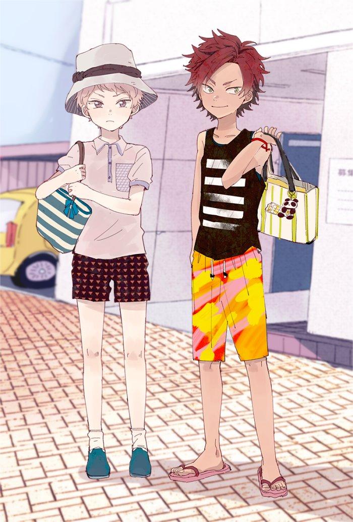 2boys bag child day ensemble_stars! hat itsuki_shu kiryuu_kurou mitobinyo multiple_boys pink_hair redhead sandals short_hair shorts smile summer swimsuit violet_eyes younger