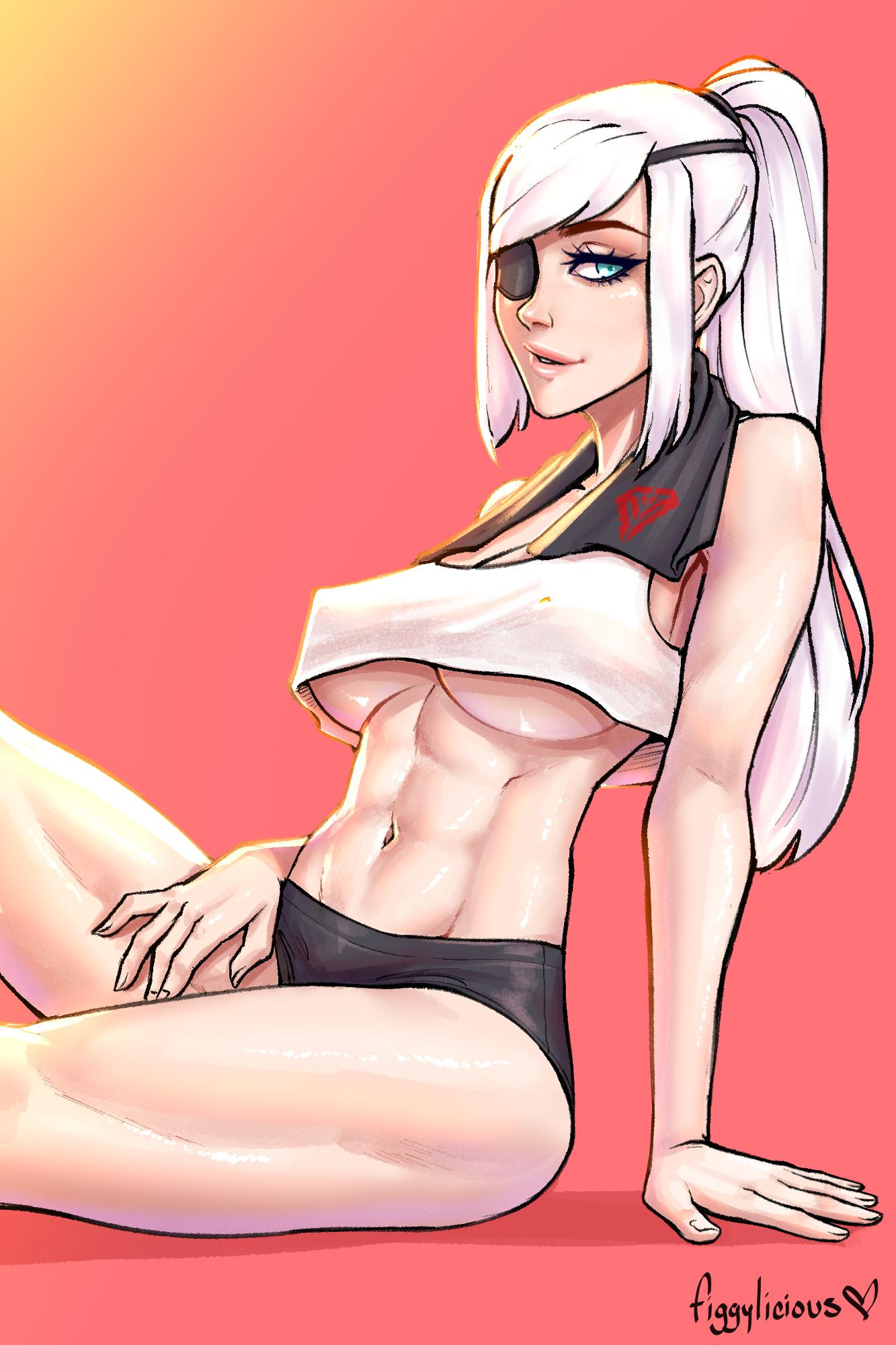 1girl abs black_shorts blue_eyes borrowed_character breasts commission crop_top crop_top_overhang eyelashes eyepatch figgylicious highres large_breasts lips long_hair looking_at_viewer navel no_bra one-eyed original ponytail red_background sailor_collar short_shorts shorts silver_hair sitting solo stomach thick_thighs thighs toned under_boob valestina