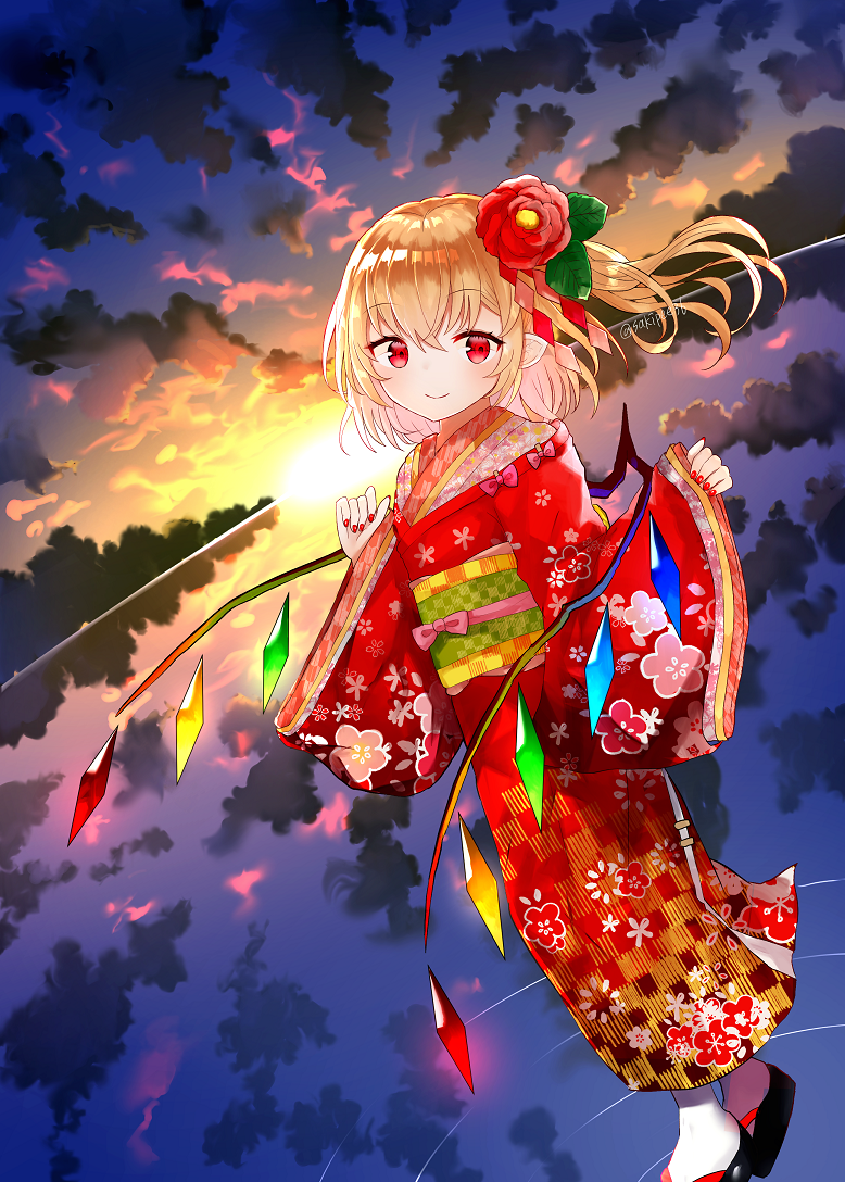 1girl alternate_costume artist_name bangs black_footwear blonde_hair bow clouds cloudy_sky commentary_request dutch_angle flandre_scarlet floating_hair floral_print flower flower_request full_body glowing glowing_wings hair_between_eyes hair_flower hair_ornament hands_up japanese_clothes kimono leaf_hair_ornament long_sleeves looking_at_viewer morning nail_polish obi off_shoulder one_side_up out_of_frame outdoors pink_bow pointy_ears red_eyes red_flower red_kimono red_nails reflection ripples sakipsakip sash shide shiny shiny_hair short_hair sidelocks sky sleeves_past_wrists smile solo standing standing_on_liquid sun sunlight tabi touhou twitter_username white_legwear wide_sleeves wings