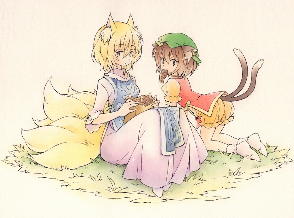 2girls acrylic_paint_(medium) all_fours alternate_color animal_ear_fluff animal_ears artist_request bangs blonde_hair bobby_socks brown_eyes brown_hair cat_ears cat_tail chen chinese_clothes circle closed_mouth commentary_request container dated dress elbow_sleeve eyebrows_visible_through_hair food fox_ears fox_tail frilled_sleeves frills full_body gradient gradient_background grass hair_between_eyes holding holding_food in_container jewelry looking_at_viewer looking_back looking_to_the_side mandarin_collar mouth_hold multiple_girls multiple_tails no_hat no_headwear no_pants no_shoes orange_bloomers orange_shirt pink_dress red_vest shirt short_hair short_sleeves single_earring sitting socks tabard tail taiyaki touhou traditional_media two_tails vest wagashi watercolor_(medium) white_legwear yakumo_ran yellow_eyes yellow_neckwear