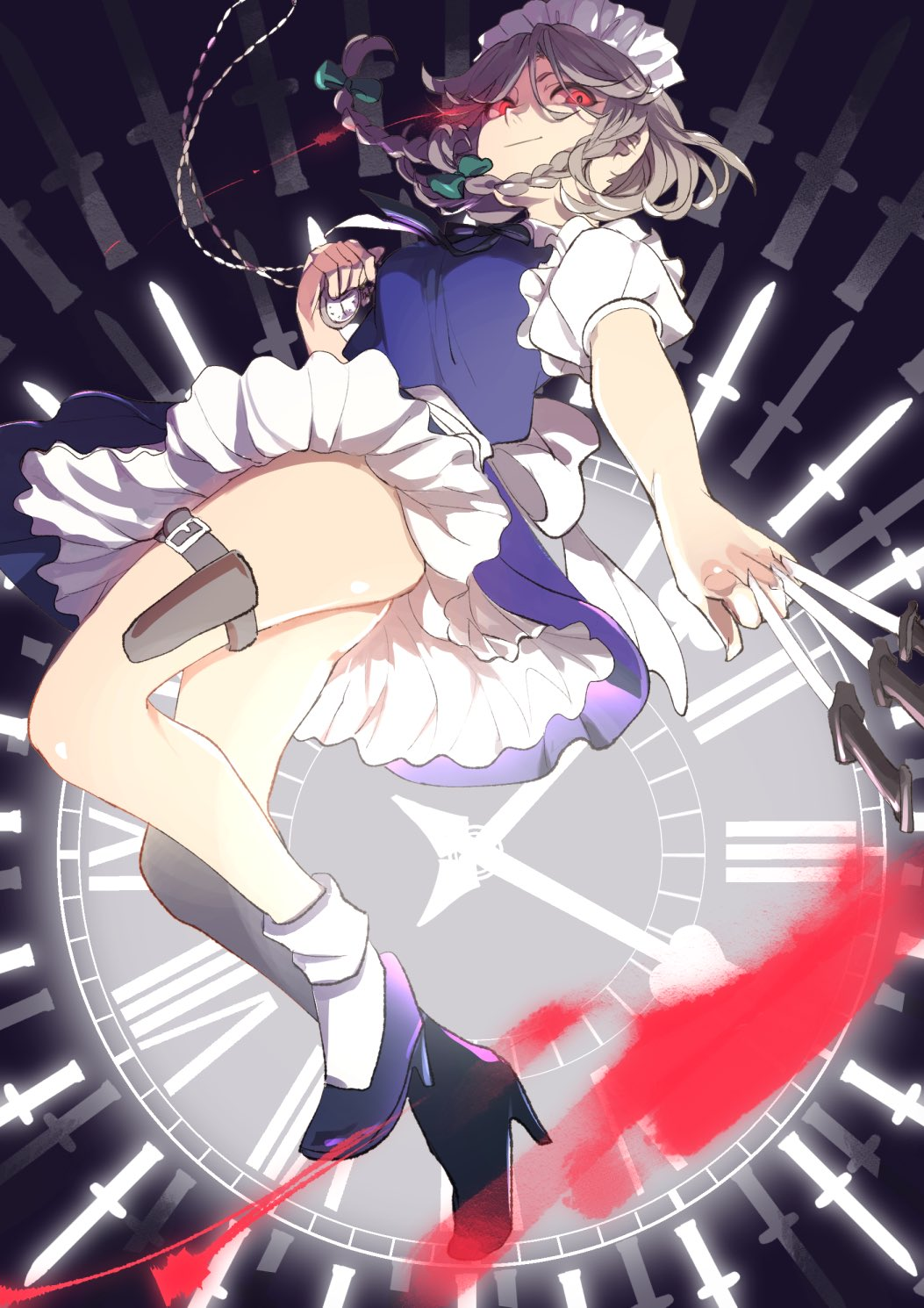1girl bangs bare_legs blue_dress blue_footwear bow braid breasts clock commentary dress green_bow hair_bow hand_up high_heels highres holding holding_knife holding_weapon holster izayoi_sakuya joniko1110 knife knives_between_fingers looking_at_viewer maid maid_headdress medium_breasts petticoat pocket_watch puffy_short_sleeves puffy_sleeves red_eyes roman_numerals shirt short_dress short_hair short_sleeves silver_hair smile socks solo thigh_holster thighs touhou twin_braids watch weapon white_legwear white_shirt