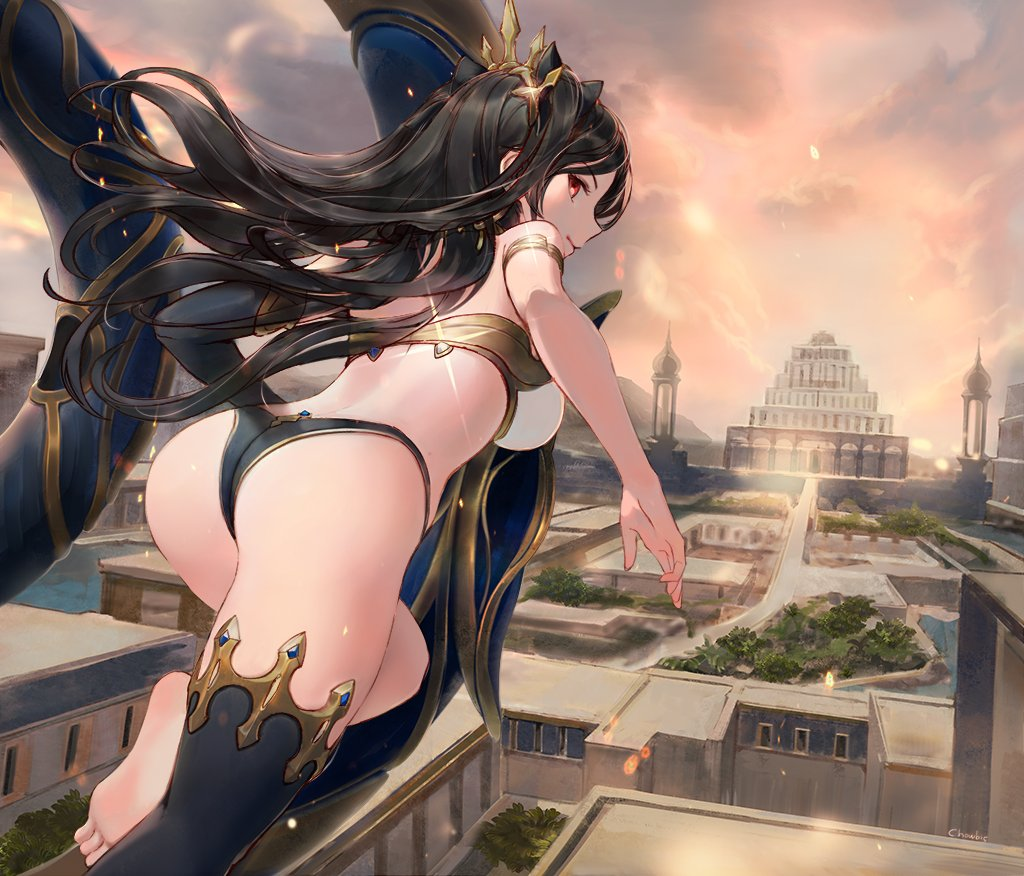 1girl arched_back armlet ass back bangs barefoot bikini black_bikini_bottom black_bow black_gloves black_hair black_legwear bow breasts choseon cityscape closed_mouth clouds cloudy_sky earrings elbow_gloves fate/grand_order fate_(series) floating_hair foreshortening from_behind gloves hair_bow hoop_earrings ishtar_(fate)_(all) ishtar_(fate/grand_order) jewelry light_smile long_hair looking_at_viewer looking_back medium_breasts mismatched_bikini red_eyes single_elbow_glove single_thighhigh sky soles solo swimsuit thigh-highs thighs tree