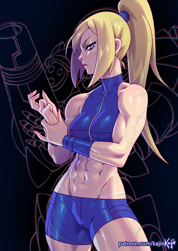 1girl abs arm_cannon artist_name biceps blonde_hair commentary dark_background english_commentary holding_own_wrist kajin_(kajinman) looking_at_viewer metroid metroid_fusion mole mole_under_mouth muscle muscular_female navel patreon_username ponytail samus_aran serious short_shorts shorts silhouette sleeveless solo stomach watermark weapon web_address wristband