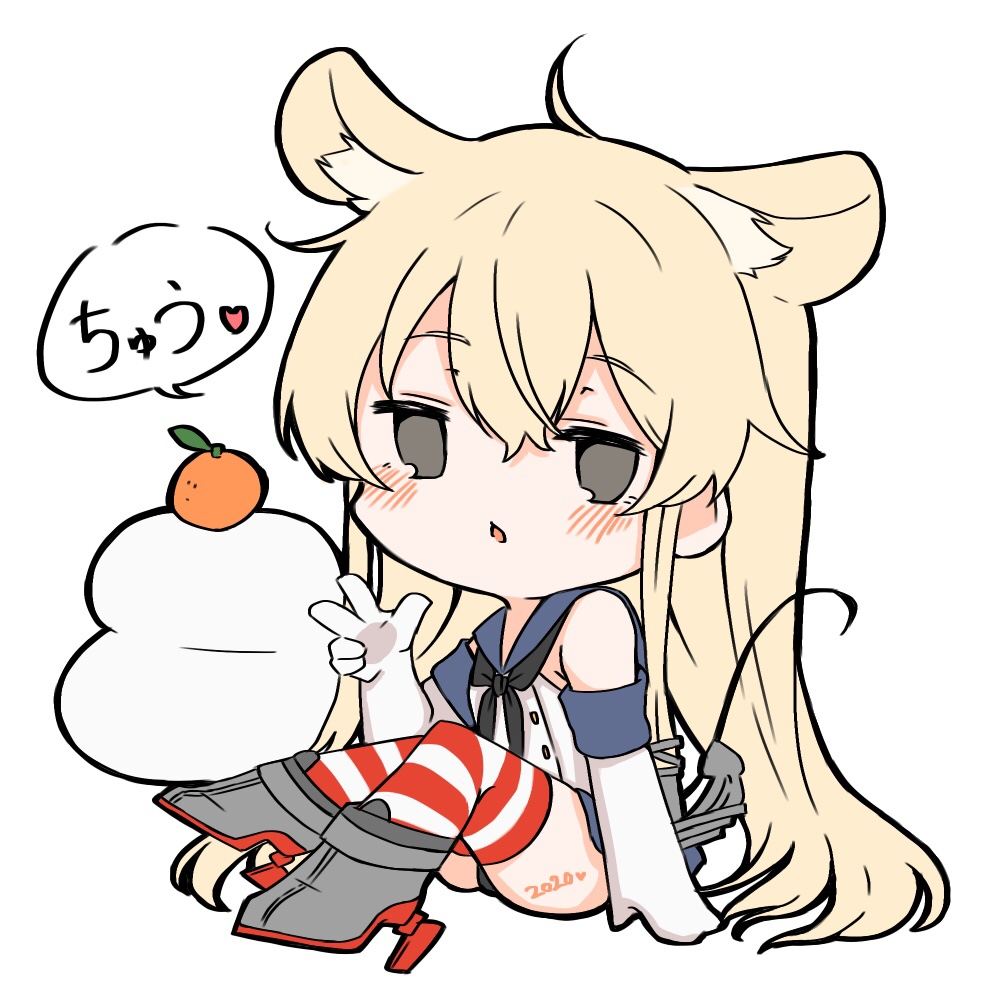 1girl 2020 ahoge anchor_hair_ornament animal_ears black_neckwear blonde_hair blue_sailor_collar blue_skirt chibi commentary_request crop_top elbow_gloves food fruit full_body gloves grey_eyes hair_ornament kagami_mochi kantai_collection long_hair looking_at_viewer mandarin_orange microskirt miniskirt mouse_ears mouse_tail neckerchief pleated_skirt rudder_footwear sailor_collar shimakaze_(kantai_collection) simple_background sitting skirt solo striped striped_legwear suzuka_sutera tail thigh-highs white_background white_gloves