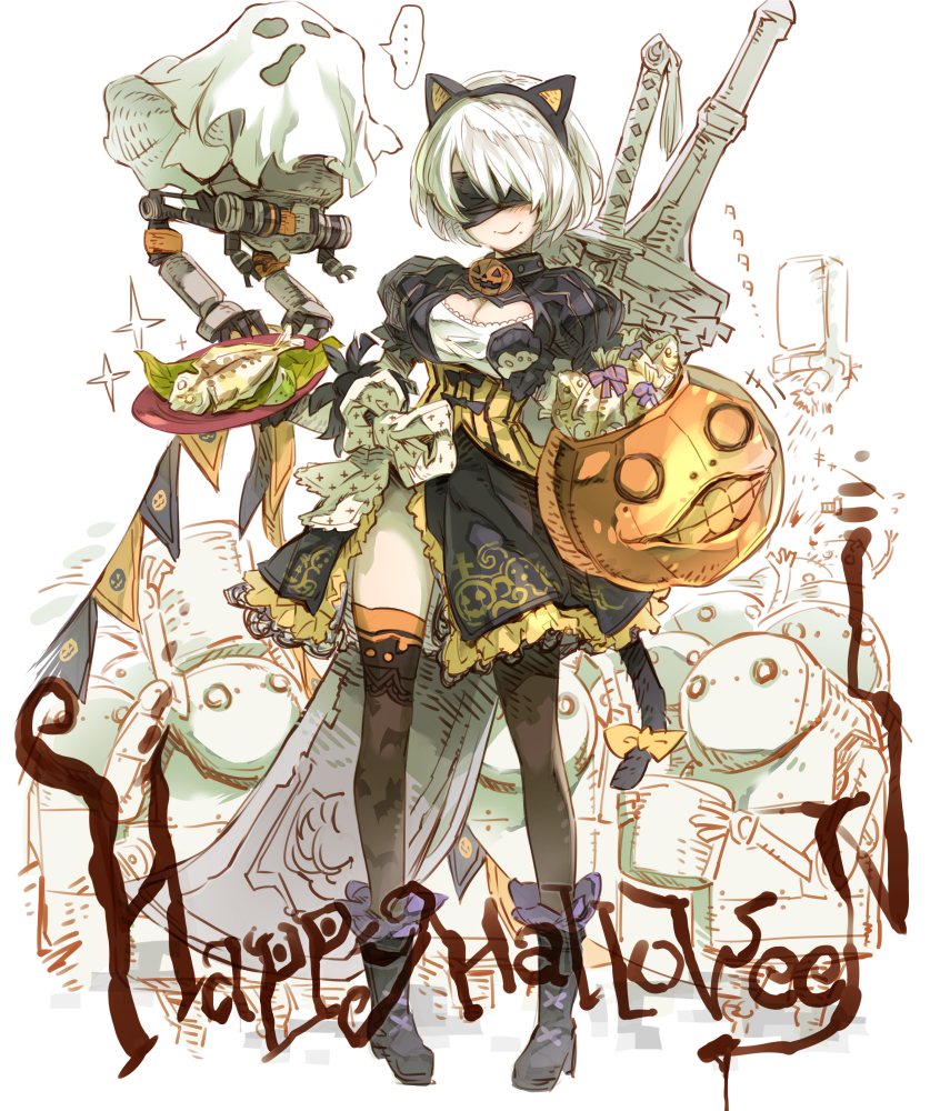 ... android animal_ears animal_print bat_print black_blindfold black_bow black_legwear blindfold blush bolt boots bow bucket cat_ears cat_tail cleavage_cutout commentary costume dress fake_animal_ears fish floating food frilled_boots frilled_dress frills ghost_costume greatsword haku_(sabosoda) halloween holding holding_bucket holding_plate mole mole_under_mouth nier_(series) nier_automata plate pod_(nier_automata) robot smile sparkle speech_bubble standing sword tail weapon weapon_on_back white_hair yellow_bow yorha_no._2_type_b