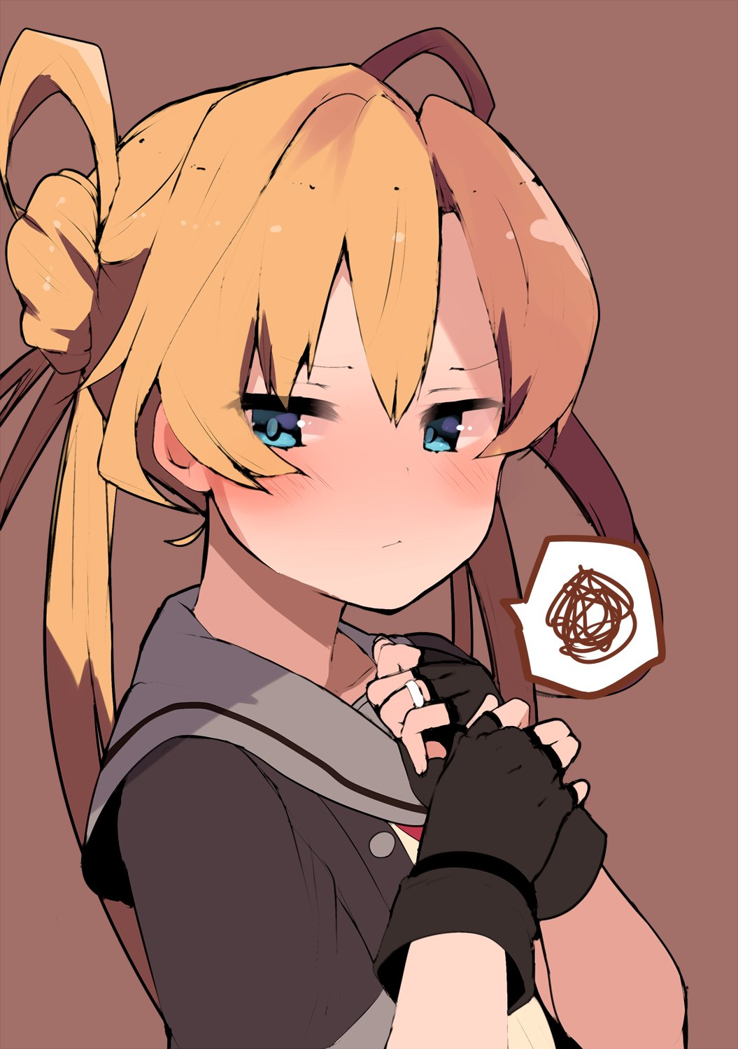 1girl abukuma_(kantai_collection) atsutoku bangs black_gloves black_jacket blonde_hair blue_eyes brown_background commentary_request double_bun gloves grey_sailor_collar grey_skirt hair_between_eyes hair_rings highres jacket jewelry kantai_collection long_hair partly_fingerless_gloves remodel_(kantai_collection) ring sailor_collar school_uniform serafuku short_sleeves simple_background skirt solo spoken_squiggle squiggle upper_body wedding_band