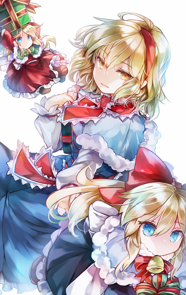 3girls ahoge alice_margatroid bangs bell blonde_hair blue_dress blue_eyes book bow box brown_footwear capelet dress frilled_dress frills fur-trimmed_capelet fur_trim gift gift_box green_eyes hair_bow hairband highres holding holding_book kutsuki_kai long_sleeves medium_hair multiple_girls open_mouth outstretched_arm petticoat puffy_sleeves red_bow red_dress red_neckwear sash shanghai_doll short_hair touhou white_background yellow_eyes