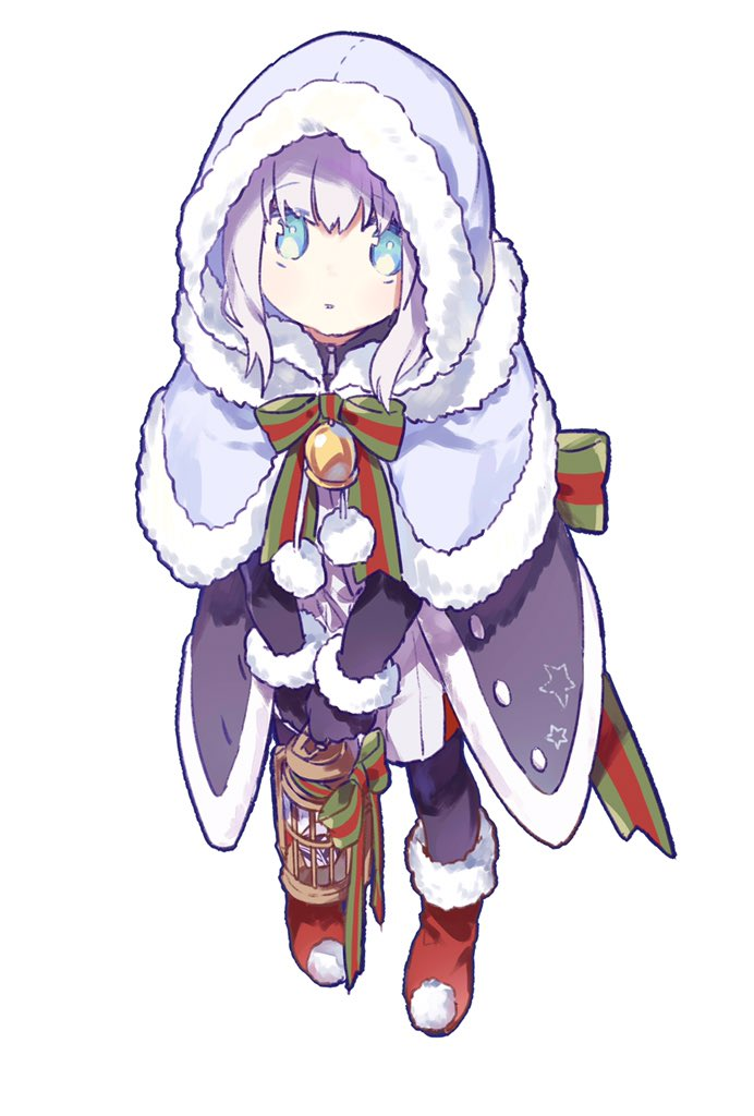 1girl add_(lord_el-melloi_ii) bell black_gloves blue_hair boots bow cage capelet christmas fate_(series) fur-trimmed_capelet fur_trim gloves gray_(lord_el-melloi_ii) grey_hair hair_between_eyes hood hood_up long_sleeves looking_at_viewer lord_el-melloi_ii_case_files mittens redoxhn solo thigh-highs