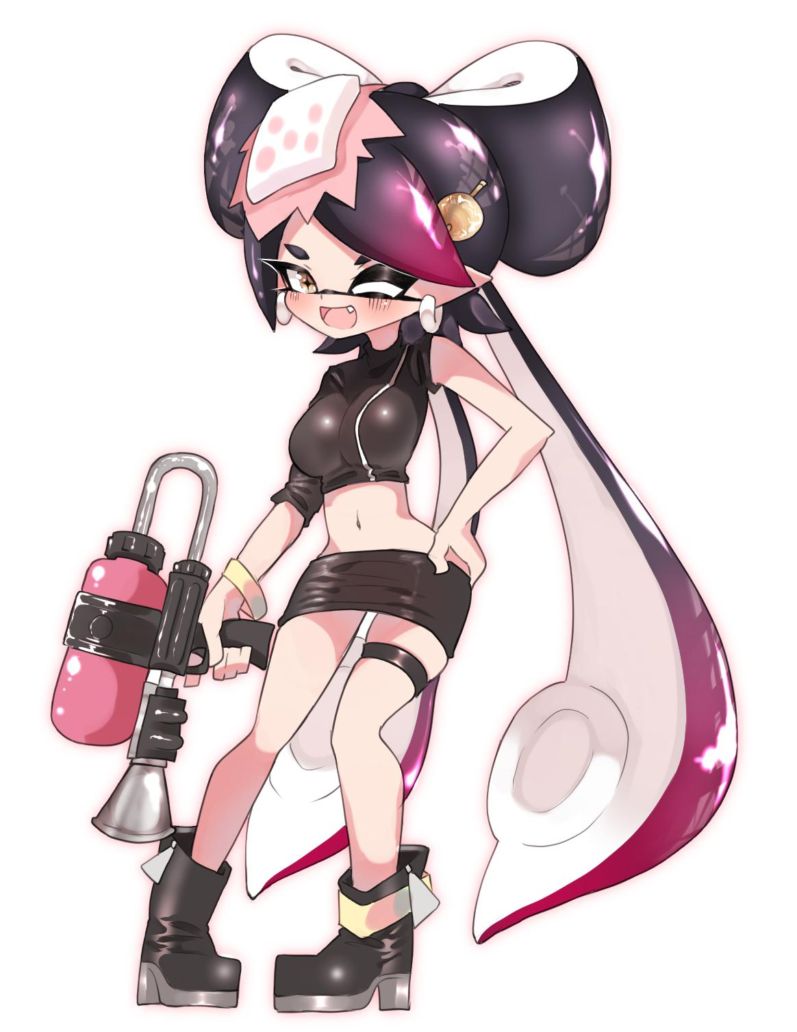 +_+ 1girl ;d ankle_boots anklet aori_(splatoon) asymmetrical_sleeves black_footwear black_hair black_jacket boots bracelet brown_eyes commentary cosplay crop_top domino_mask earrings fang food food_on_head full_body gradient_hair hair_ornament hand_on_hip highres holding holding_weapon jacket jewelry long_hair looking_at_viewer mask microskirt midriff multicolored_hair navel object_on_head octoshot_(splatoon) one_eye_closed open_mouth purple_hair simple_background skindentation skirt smile solo splatoon_(series) splatoon_2 splatoon_2:_octo_expansion standing sukeo_(nunswa08) sushi tentacle_hair thigh_strap very_long_hair weapon white_background zipper zipper_pull_tab