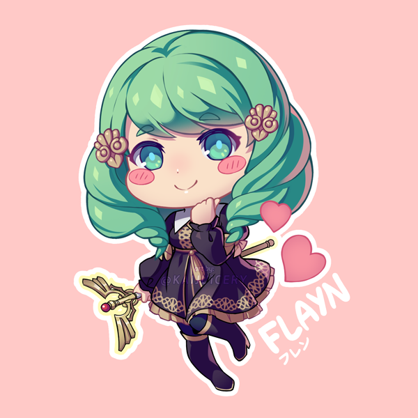 1girl blush_stickers character_name chibi closed_mouth fire_emblem fire_emblem:_three_houses flayn_(fire_emblem) garreg_mach_monastery_uniform green_eyes green_hair hair_ornament holding holding_staff kaijuicery long_hair long_sleeves pink_background simple_background smile solo staff twitter_username uniform