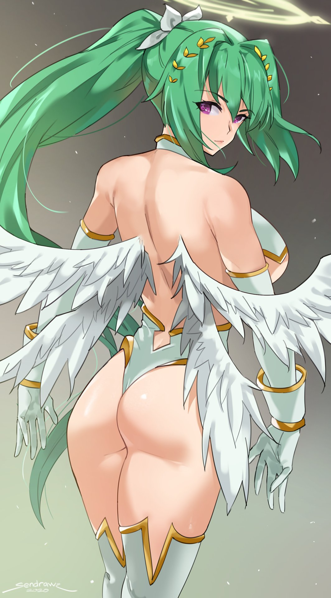 1girl 2020 angel angel_wings ass backless_outfit bare_shoulders blush breasts elbow_gloves feathered_wings four_goddesses_online:_cyber_dimension_neptune from_behind gloves green_hair green_heart hair_ornament halo highres large_breasts long_hair looking_at_viewer looking_back neptune_(series) ponytail sendrawz signature solo symbol-shaped_pupils very_long_hair violet_eyes white_gloves white_legwear white_wings wings