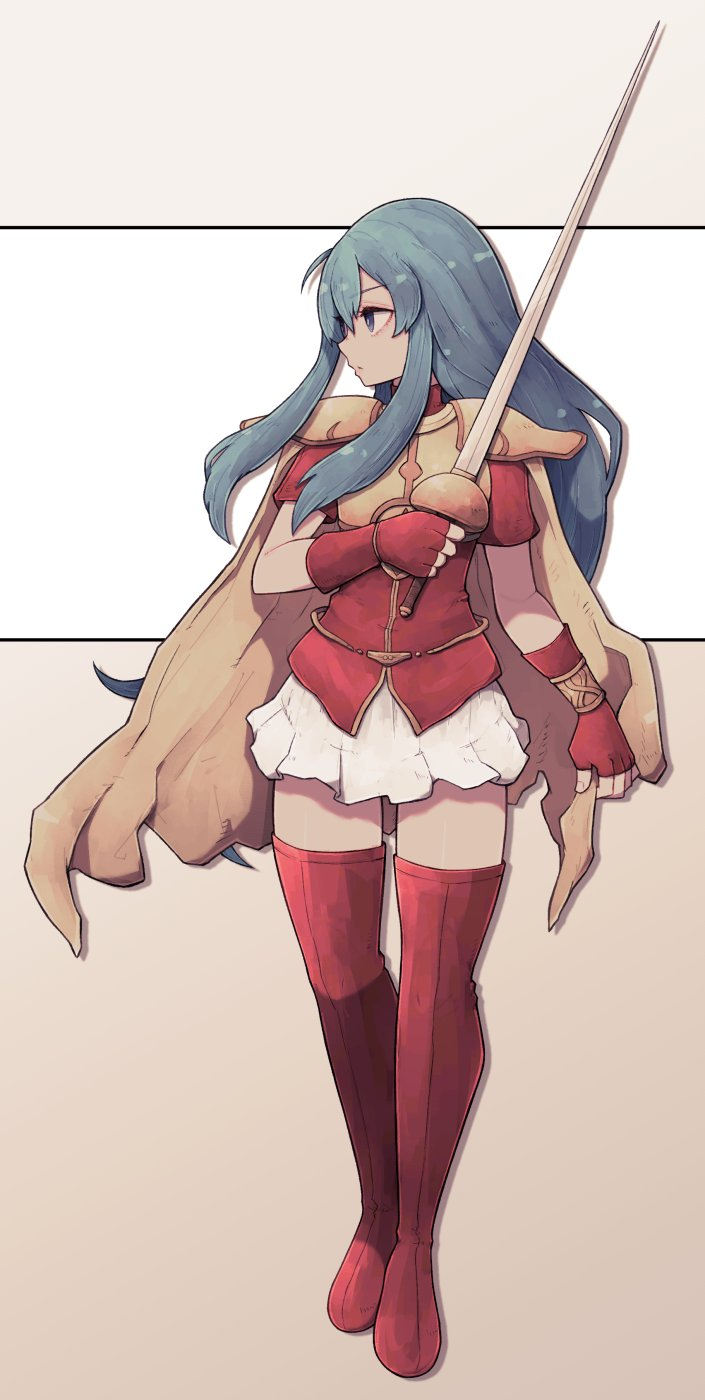 1girl blue_eyes blue_hair boots bracelet breastplate cape closed_mouth eirika_(fire_emblem) fingerless_gloves fire_emblem fire_emblem:_seima_no_kouseki fire_emblem:_the_sacred_stones fire_emblem_8 full_body gloves highres intelligent_systems jewelry lamb-oic029 long_hair looking_away looking_to_the_side miniskirt nintendo pauldrons profile red_footwear red_gloves red_shirt shirt short_sleeves shoulder_armor sidelocks skirt solo thigh-highs thigh_boots two-tone_background very_long_hair white_skirt yellow_cape zettai_ryouiki