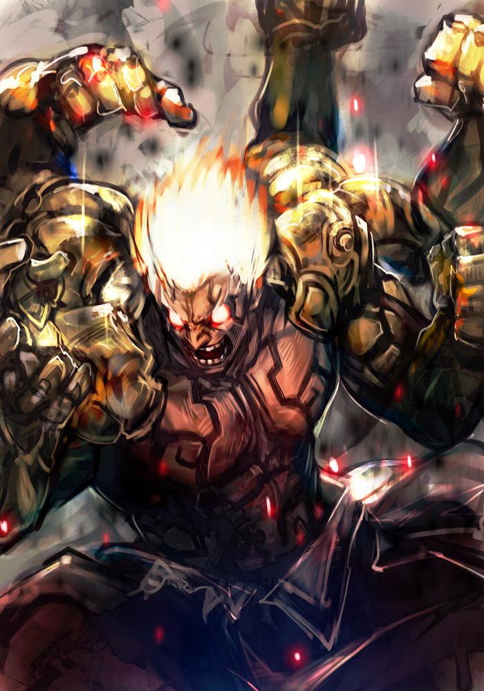 1boy asura's_wrath asura_(asura's_wrath) blonde_hair clenched_hands extra_arms fighting_stance full_body_tattoo glowing glowing_eyes glowing_hair hankuri male_focus manly powering_up red_eyes shirtless solo tattoo