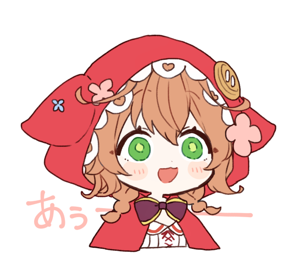 1girl :d animal_ears animal_hood bangs black_bow blush_stickers bow brown_hair capelet commentary_request cropped_torso eyebrows_visible_through_hair fake_animal_ears flower green_eyes hair_between_eyes hood hood_up hooded_capelet nijisanji open_mouth pink_flower red_capelet shirt simple_background smile solo translation_request upper_body virtual_youtuber warabeda_meijii white_background white_shirt yamabukiiro