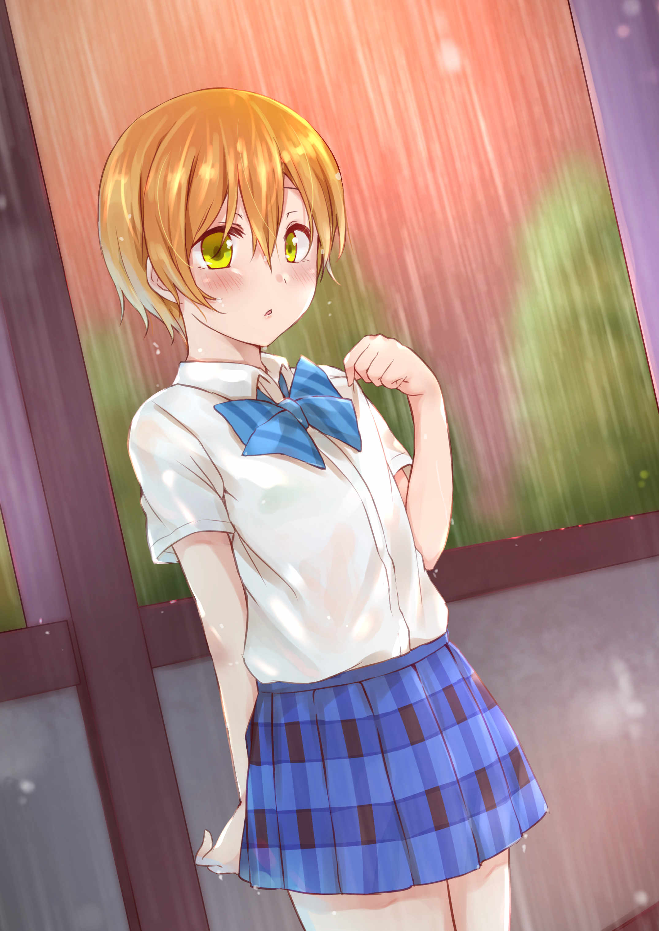 1girl absurdres bangs blue_bow blue_skirt blush bow bra bra_through_clothes brown_hair collared_shirt commentary_request dress_shirt eyebrows_visible_through_hair green_bra hair_between_eyes hand_up highres hitotsuki_no_yagi hoshizora_rin love_live! love_live!_school_idol_project outdoors parted_lips plaid plaid_skirt pleated_skirt rain see-through shirt short_hair short_sleeves skirt solo striped striped_bow underwear vertical_stripes wet wet_clothes wet_hair wet_shirt white_shirt yellow_eyes