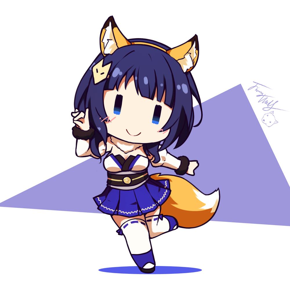 1girl animal_ear_fluff animal_ears asaka_karin bangs black_footwear blue_eyes blue_hair blue_skirt blush breasts chibi closed_mouth colored_shadow commentary_request detached_sleeves fox_ears fox_hair_ornament fox_shadow_puppet fox_tail full_body fur-trimmed_sleeves fur_trim hair_ornament hairband hairclip juliet_sleeves langbazi long_sleeves love_live! love_live!_school_idol_festival_all_stars medium_breasts obi orange_hairband pleated_skirt puffy_sleeves purple_background ribbon-trimmed_legwear ribbon_trim sash shadow signature skirt smile solo standing standing_on_one_leg strapless tail thigh-highs two-tone_background white_background white_legwear white_sleeves ||_||