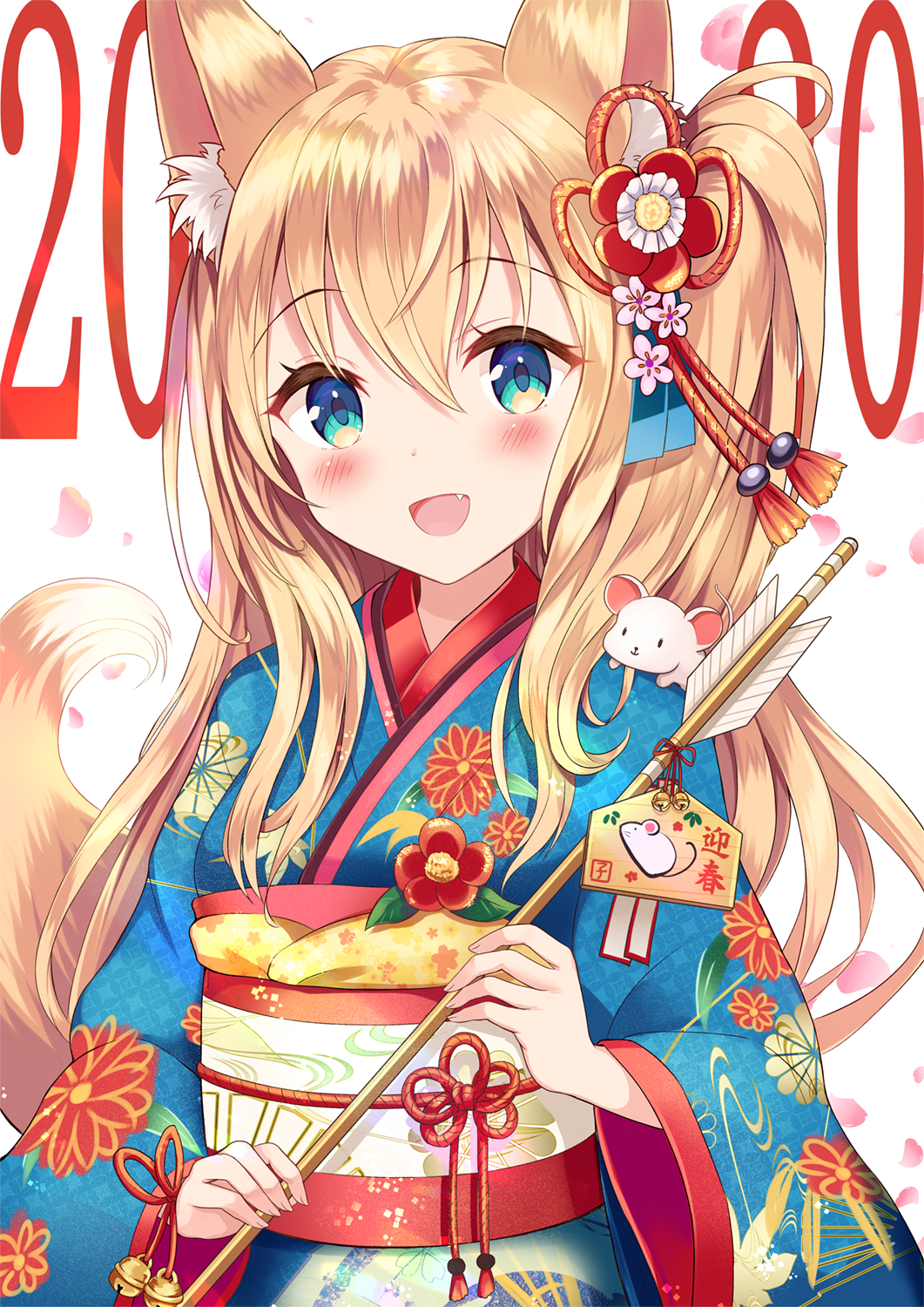1girl 2020 :d animal animal_ear_fluff animal_ears animal_on_shoulder arrow bangs bell blue_eyes blue_kimono blush brown_hair chinese_zodiac commentary_request ema eyebrows_visible_through_hair fang floral_print hair_between_eyes hamaya highres holding holding_arrow japanese_clothes jingle_bell kimono long_hair long_sleeves looking_at_viewer mouse obi open_mouth original print_kimono sakura_ani sash smile solo tail tail_raised very_long_hair wide_sleeves year_of_the_rat
