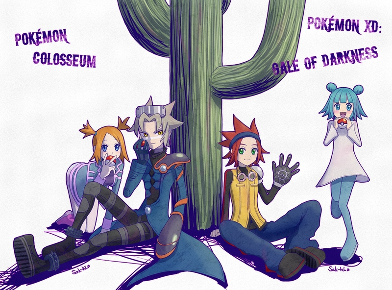 2boys 2girls :d aqua_eyes aqua_hair black_gloves black_pants blue_eyes blue_pants cactus child copyright_name denim double_bun dress gloves green_eyes grey_hair holding holding_poke_ball jeans leo_(pokemon) long_sleeves looking_at_viewer mana_(pokemon) medium_hair mirei_(pokemon_colosseum) multiple_boys multiple_girls open_mouth orange_hair pants poke_ball poke_ball_(generic) pokemon pokemon_(game) pokemon_colosseum pokemon_xd redhead riliri ryuuto_(pokemon) serious shoes signature simple_background sitting sitting_on_ground smile twintails white_background white_dress yellow_eyes