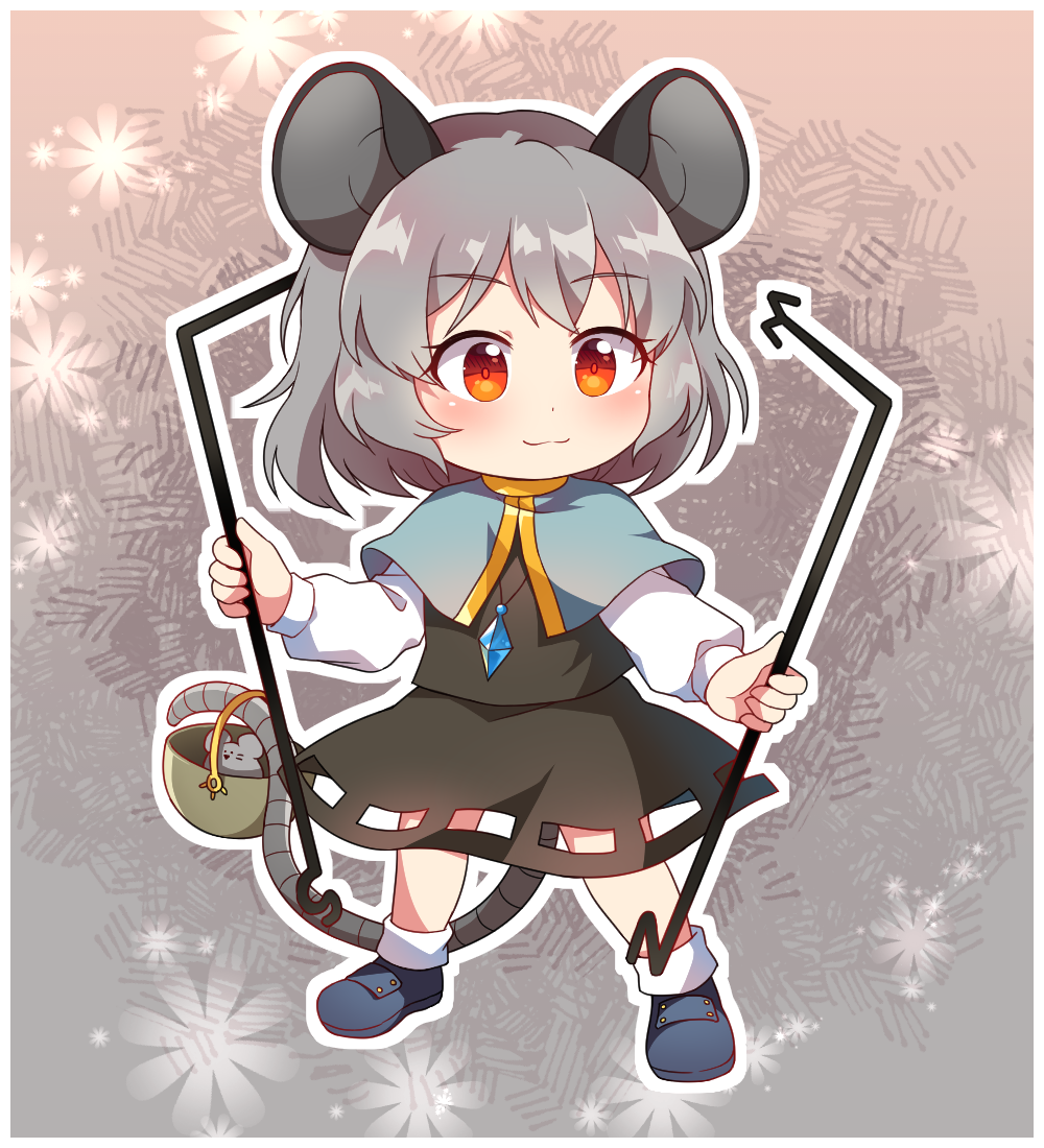 1girl animal_ears bangs basket black_skirt black_vest blue_capelet blue_footwear blush capelet caramell0501 chibi commentary_request dowsing_rod eyebrows_visible_through_hair full_body grey_background grey_hair holding jewelry long_sleeves looking_at_viewer miniskirt mouse mouse_ears mouse_tail nazrin outline partial_commentary pendant red_eyes shirt shoes short_hair skirt skirt_set smile socks solo standing tail tail_hold touhou vest white_legwear white_outline white_shirt
