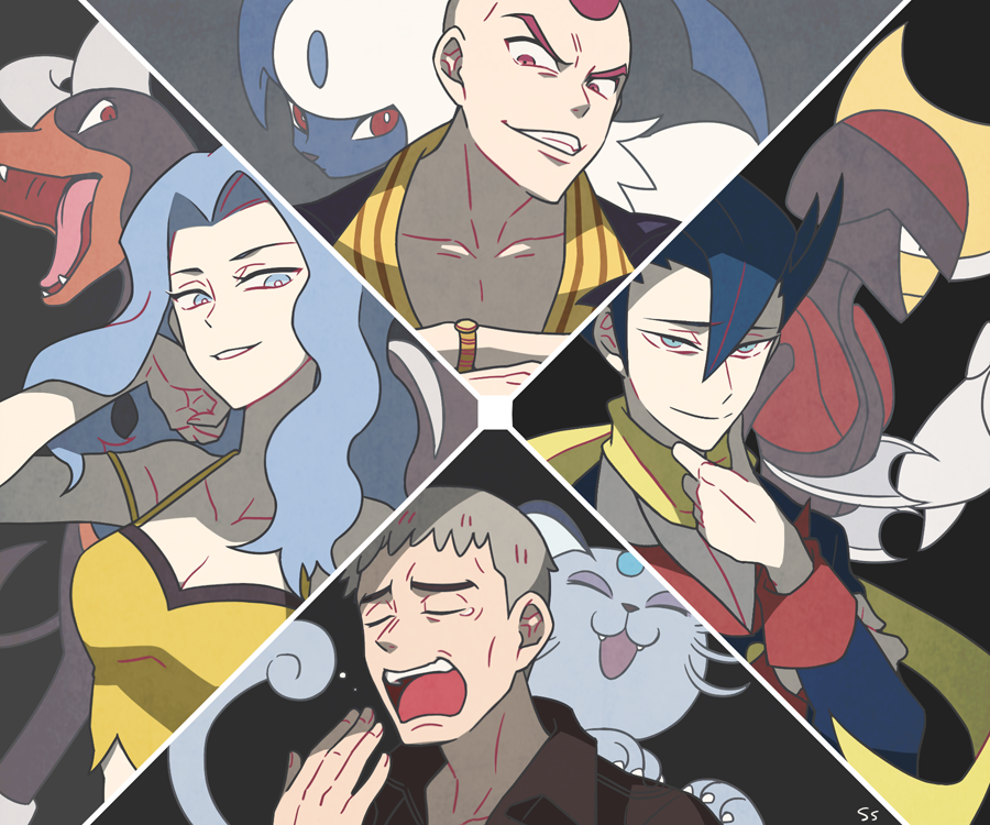 1girl 3boys ^_^ absol alolan_form alolan_persian bisharp black_hair breasts claws cleavage closed_eyes collarbone creature elite_four face furrowed_eyebrows gen_2_pokemon gen_3_pokemon gen_5_pokemon gen_7_pokemon giima_(pokemon) grey_hair gym_leader hair_between_eyes houndoom island_kahuna kagetsu_(pokemon) karin_(pokemon) kuchinashi_(pokemon) large_breasts long_sleeves looking_at_viewer multiple_boys pokemon pokemon_(creature) pokemon_(game) pokemon_bw pokemon_hgss pokemon_oras pokemon_sm scarf shirt signature ssalbulre watch wristwatch yawning yellow_scarf yellow_shirt