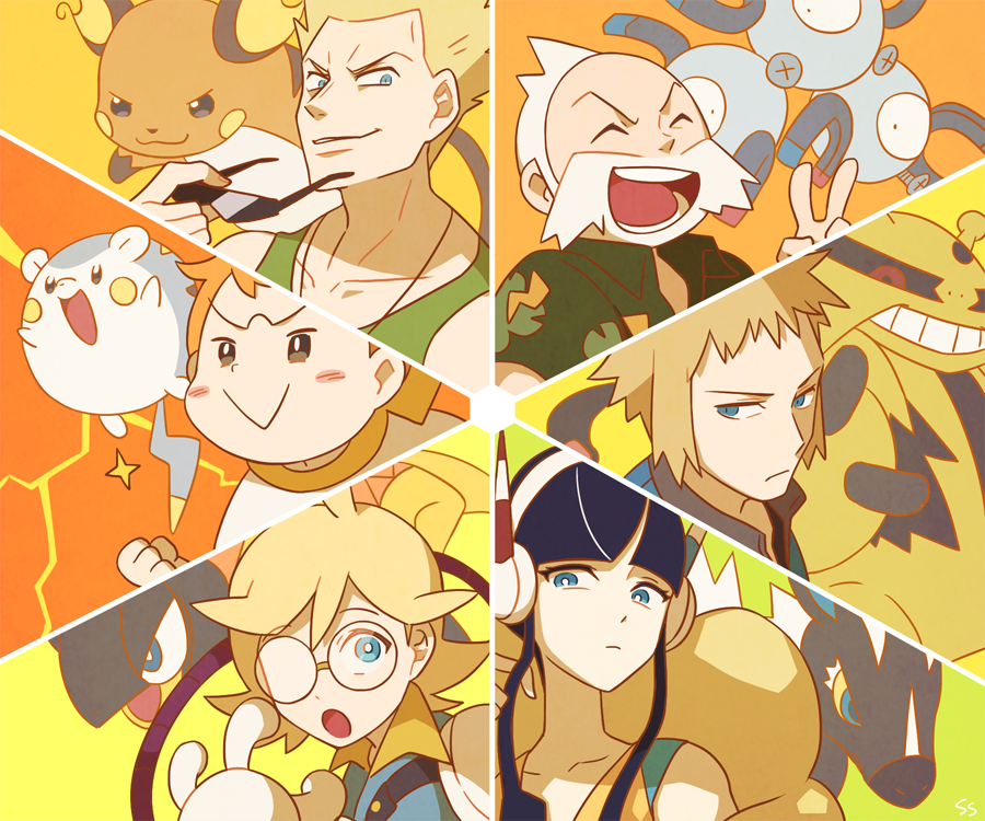 1girl 5boys ^_^ bangs beard black_hair blonde_hair blue_eyes blunt_bangs blush brown_eyes child citron_(pokemon) closed_eyes collared_shirt creature denji_(pokemon) electivire face facial_hair gen_1_pokemon gen_4_pokemon gen_5_pokemon gen_6_pokemon gen_7_pokemon glasses grin gym_leader heliolisk holding holding_eyewear kamitsure_(pokemon) looking_at_viewer magneton mamane_(pokemon) matis_(pokemon) multiple_boys open_mouth pokemon pokemon_(creature) pokemon_(game) pokemon_bw2 pokemon_dppt pokemon_hgss pokemon_oras pokemon_sm pokemon_xy raichu shirt sidelocks signature smile spiked_hair ssalbulre sunglasses tessen_(pokemon) togedemaru trial_captain v zebstrika